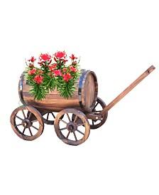 Gardenised Large Barrel Wagon Planter