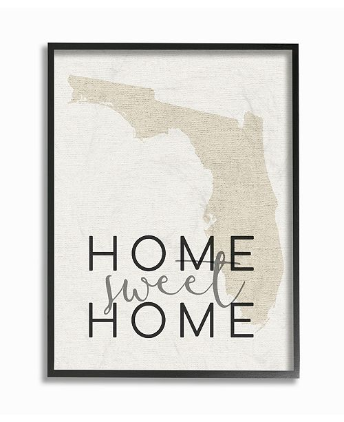 """Stupell Industries Home Sweet Home Florida Typography Framed Giclee Art, 16"""" x 20"""""""