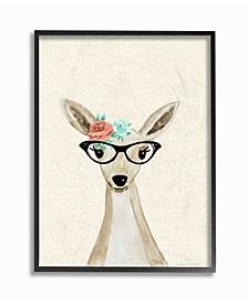 "Woodland Deer with Cat Eye Glasses Framed Giclee Art, 16"" x 20"""