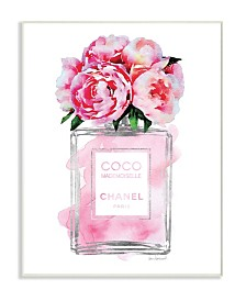 "Stupell Industries Glam Perfume Bottle V2 Flower Silver Pink Peony Wall Plaque Art, 10"" x 15"""