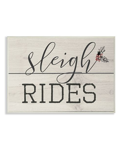 """Stupell Industries Sleigh Rides Vintage-Inspired Christman Sign Wall Plaque Art, 10"""" x 15"""""""