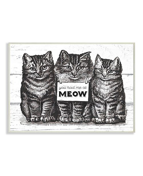 """Stupell Industries You Had Me at Meow Cats Wall Plaque Art, 10"""" x 15"""""""