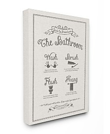 "Stupell Industries Guide To Bathroom Procedures Linen Look Canvas Wall Art, 30"" x 40"""