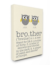 """Stupell Industries Home Decor Definition Of Brother with Two Gray Owls Canvas Wall Art, 16"""" x 20"""""""
