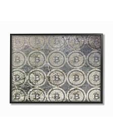 "Bitcoin Pattern on Surface Framed Giclee Art, 16"" x 20"""