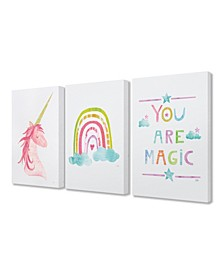 "You Are Magic Rainbow And Unicorn 3 Piece Canvas Art Set, 16"" x 20"""