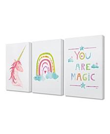 "You Are Magic Rainbow And Unicorn 3 Piece Canvas Art Set, 16"" x 20"""