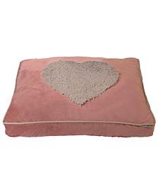 Plush Velvet Heart Fur Applique Pillow Pet Bed