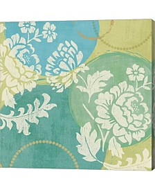 """Metaverse Floral Decal Turquoise II by Veronique Charron Canvas Art, 24"""" x 24"""""""