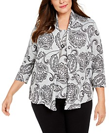 Plus Size Paisley Layered-Look Top