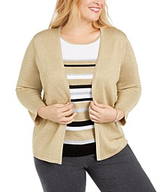 Plus Size Classics Layered-Look Metallic Sweater