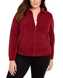 Alfred Dunner Plus Size Classics Chenille Zip-Front Cardigan