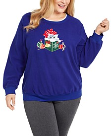 Plus Size Appliquéd Kitten Top