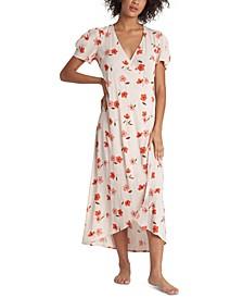 Floral Fields Printed Wrap Midi Dress