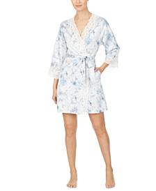 Women's Lace-Trim Floral Satin Robe