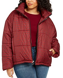 Juniors' Plus Size Plaid Puffer Coat