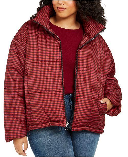 Celebrity Pink Juniors' Plus Size Plaid Puffer Coat