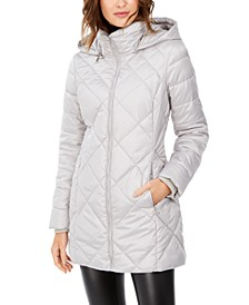 Diamond Quilt Hooded Puffer Coat