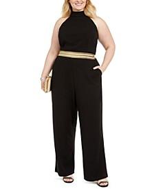 Trendy Plus Size Banded-Waist Halter Jumpsuit