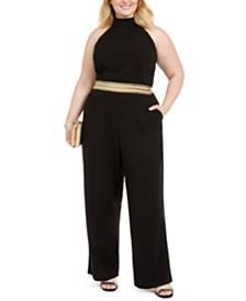 Teeze Me Trendy Plus Size Banded-Waist Halter Jumpsuit