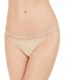 Women's Lace Trim Thong Underwear QD3779