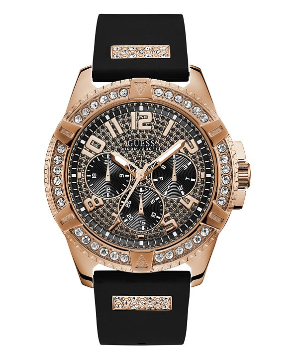 GUESS Men's Black Silicone Strap Watch 48mm, Created for Macy's