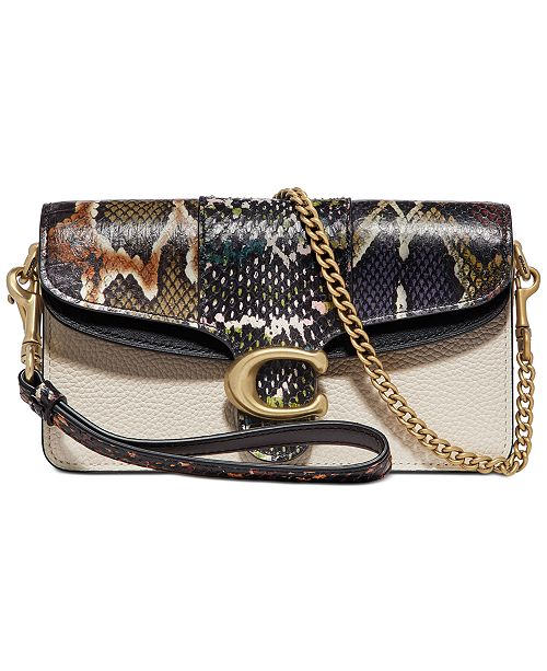 COACH Leather & Snakeskin Tabby Crossbody