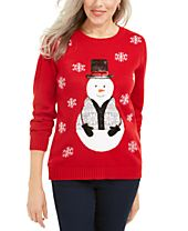Karen Scott Sequined Snowman Holiday Sweater, Created For Macy's