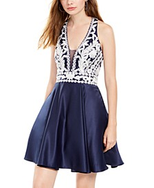 Juniors' Floral-Appliqué Fit & Flare Dress