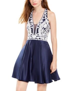 Blondie Nites Juniors' Floral-Applique Fit & Flare Dress