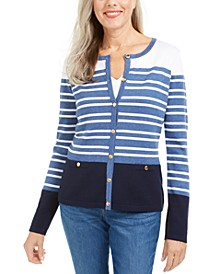 Striped Cardigan Sweater, Created For Macy's
