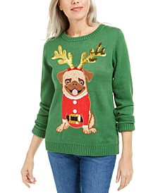 Petite Christmas Pug Sweater, Created For Macy's
