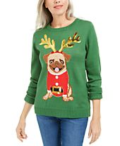 Karen Scott Sequined Pug Holiday Sweater, Created For Macy's