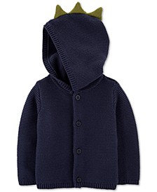 Baby Boys Cotton Hooded Dinosaur Cardigan