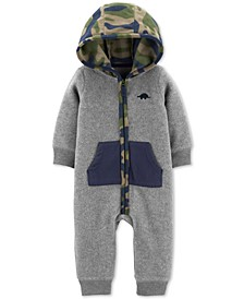 Baby Boys Camo-Print-Hood Fleece Jumpsuit