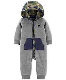 Baby Boys Camo-Print-Hood Fleece Jumpsuit