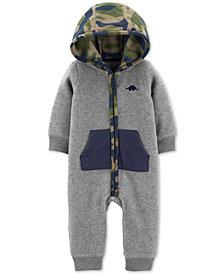 Carter's Baby Boys Camo-Print-Hood Fleece Jumpsuit