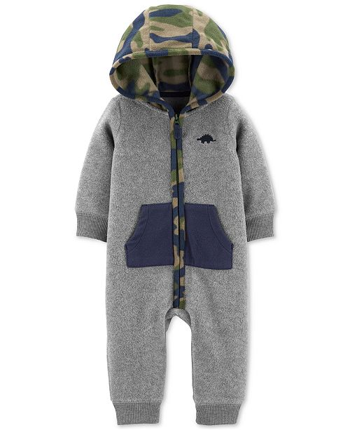 Carter's Baby Boys Camo-Print-Hood Fleece Jumpsuit