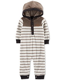 Carter's Baby Boys Striped Hooded Fleece Jumpsuit