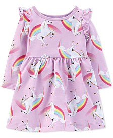 Baby Girls Cotton Rainbow Unicorn Dress