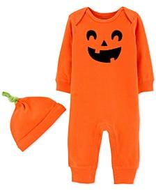 Baby Boys & Girls 2-Pc. Cotton Pumpkin Hat & Jumpsuit Set
