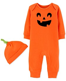 Carter's Baby Boys & Girls 2-Pc. Cotton Pumpkin Hat & Jumpsuit Set