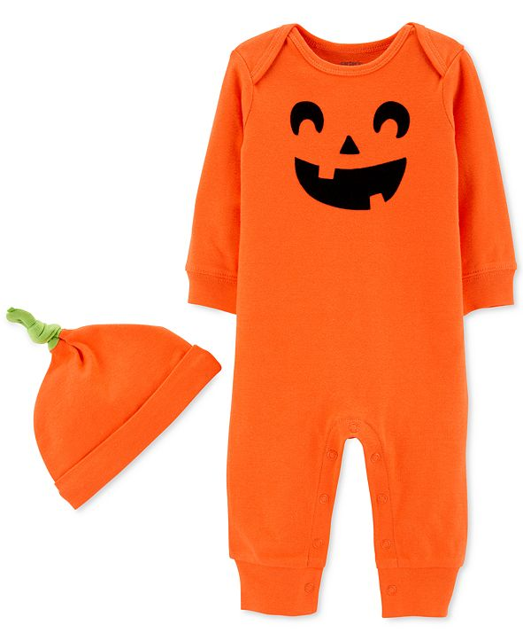 Carter's Baby Boys & Girls 2-Pc. Cotton Pumpkin Hat & Jumpsuit Set