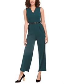 Calvin Klein Petite V-Neck Belted Jumpsuit