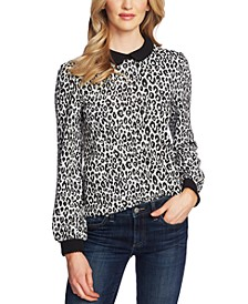 Collared Animal-Print Top