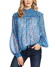 Ditsy-Print Ruffled Top