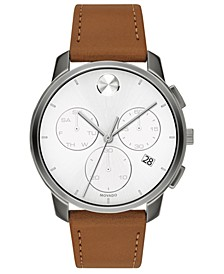 Men's Swiss Chronograph Bold Brown Leather Strap Watch 42mm
