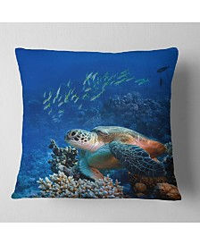 "Designart Large Sea Turtle Underwater Abstract Throw Pillow - 18"" X 18"""