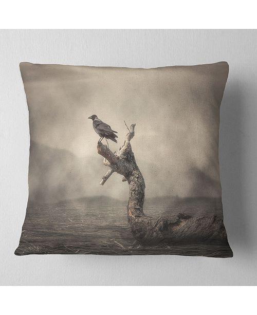"Design Art Designart Crow Perching On Tree Animal Throw Pillow - 16"" X 16"""
