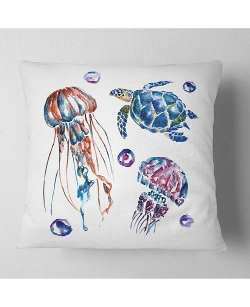 "Design Art Designart Colorful Jellyfish And Turtles Animal Throw Pillow - 18"" X 18"""
